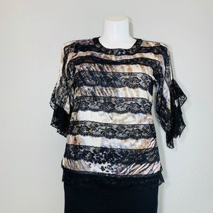 SHARON YOUNG BLACK LACEY TOP